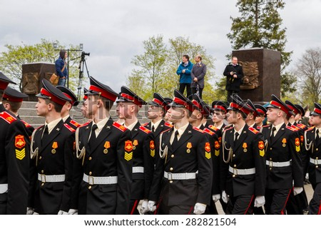 Saint Petersburg city, Lomonosov, Russia, May 8, 2015. The opening of the Stella and the laying of wreaths at the memorial day.