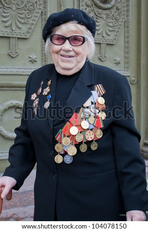 SAINT-PETERSBURG MAY 9: Veterans Day in Russia. World War II Victory Day. Portrait of a hero. May 9 2010.St-Petersburg