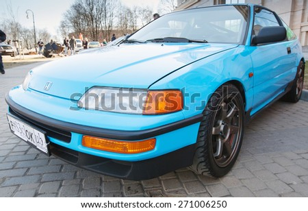 Saint-Petersburg, Russia - April 11, 2015: Blue sporty Honda Civic CRX stands parked on the city street - stock photo