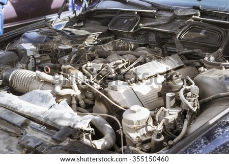SAINT-PETERSBURG, RUSSIA - APRIL 5, 2014: Engine compartment: the engine with attachments, Old-car BMW 5-series e34 at the meeting fans of the Bavarian automaker, St. Petersburg, Russia - stock photo
