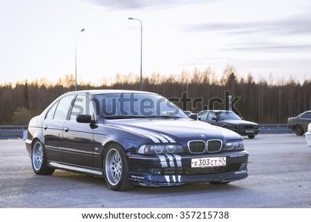 SAINT-PETERSBURG, RUSSIA - APRIL 5, 2014: Old-car BMW m5-series e39 at the meeting fans of the Bavarian automaker, St. Petersburg, Russia - stock photo
