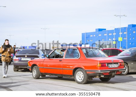 SAINT-PETERSBURG, RUSSIA - APRIL 5, 2014: Old-car BMW 3-series coupe at the meeting fans of the Bavarian automaker, St. Petersburg, Russia - stock photo
