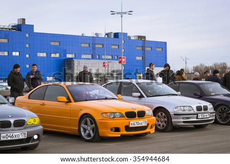 SAINT-PETERSBURG, RUSSIA - APRIL 5, 2014: Old-cars BMW 3-series at the meeting fans of the Bavarian automaker, St. Petersburg, Russia - stock photo