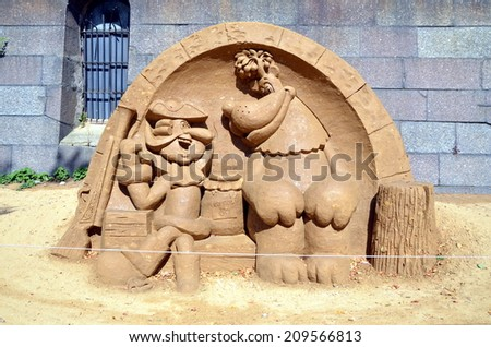 SAINT-PETERSBURG, RUSSIA,  AUGUST 1, 2014:  Baron Munchhausen. Sand sculpture in Peter and Paul Fortress, St-Petersburg