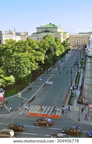 SAINT-PETERSBURG, RUSSIA - AUGUST 4, 2015.  Birds eye view of Ostrovsky Square and Alexandrinsky Theatre - Russian State Academy Drama Theater in Saint Petersburg, Russia