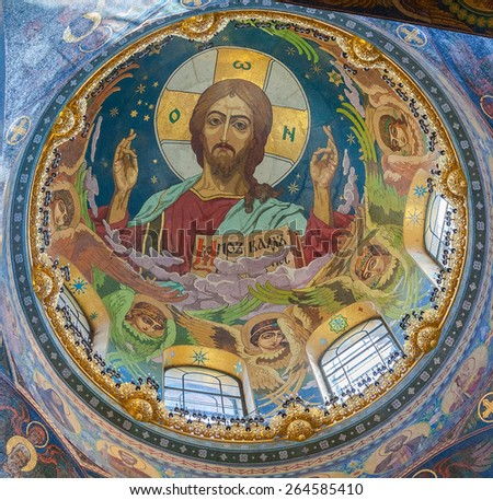 SAINT PETERSBURG, RUSSIA - AUGUST 9, 2014: Interior of the Church of the Savior on Spilled Blood. It contains over 7500 square meters mosaics of famous russian artists - stock photo