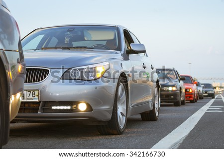 SAINT-PETERSBURG, RUSSIA - AUGUST 3, 2013: Old-car BMW 5-series e60 at the meeting, fans of the Bavarian automaker, KAD, St. Petersburg - stock photo