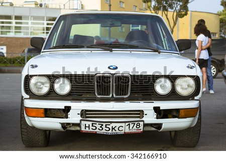SAINT-PETERSBURG, RUSSIA - AUGUST 3, 2013: Old-car BMW 3-series m3 at the meeting, fans of the Bavarian automaker, Krestovsky island, St. Petersburg - stock photo
