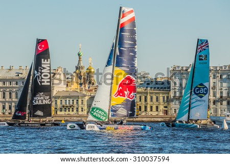 SAINT-PETERSBURG, RUSSIA - AUGUST 23, 2015: Participants of Extreme Sailing Series Act 6s catamarans race on 20th-23th August 2015 in St. Petersburg, Russia - stock photo