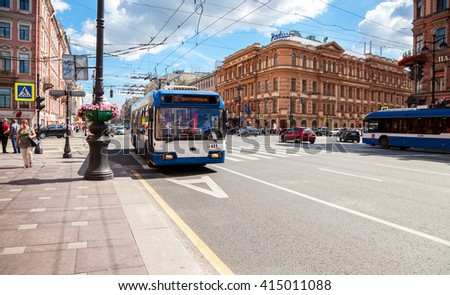 SAINT PETERSBURG, RUSSIA - AUGUST 5, 2015: Passenger bus run on dedicated bus lanes on the Nevsky Prospect in summer day