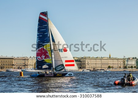 SAINT-PETERSBURG, RUSSIA - AUGUST 23, 2015: Red Bull (Austria) yacht at Act 6 of the Extreme Sailing Series catamarans race on 20th-23th august 2015 in St. Petersburg, Russia - stock photo