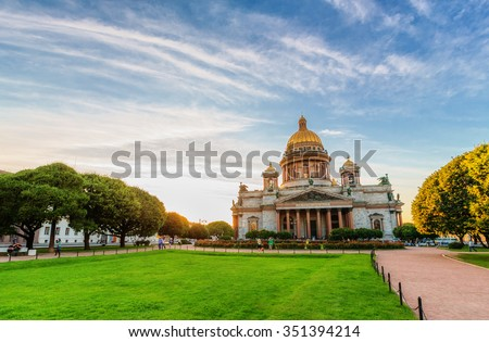 Saint Petersburg/Russia - August 09, 2015: Saint Isaac's Cathedral at sunset time - stock photo