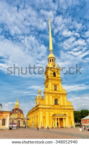 Saint Petersburg/Russia - August 06, 2015: Saint Peter and Paul cathedral - stock photo