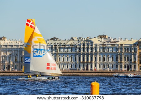 SAINT-PETERSBURG, RUSSIA - AUGUST 23, 2015: SAP Extreme Sailing Team at Extreme Sailing Series Act 6 catamarans race on 20th-23th august 2015 in St. Petersburg, Russia - stock photo