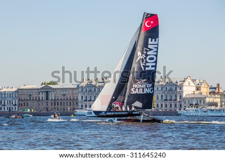 SAINT-PETERSBURG, RUSSIA - AUGUST 21, 2015: Team Turx (Turkey) after the end of Extreme Sailing Series Act 6 catamarans race on 20th-23th August 2015 in St. Petersburg, Russia - stock photo