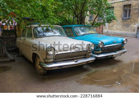 SAINT PETERSBURG, RUSSIA - AUGUST 29, 2014: Vintage cars in Saint Petersburg in Russia