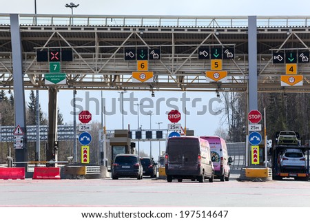 SAINT-PETERSBURG, RUSSIA, CIRCA MAY, 2014: Fee booths are in Western High-Speed Diameter (WHSD) tollway. The route to Scandinavia