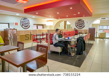 SAINT PETERSBURG, RUSSIA - CIRCA SEPTEMBER, 2017:  inside Burger King restaurant. Burger King is an American global chain of hamburger fast food restaurants.