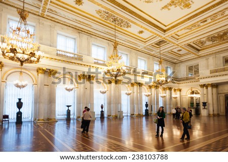 SAINT PETERSBURG, RUSSIA - DEC 16, 2014: Interior of the State Hermitage, a museum of art and culture in Saint Petersburg, Russia. It was founded in 1764 by Catherine the Great