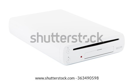 SAINT-PETERSBURG, RUSSIA - DECEMBER 9, 2015: the Nintendo Wii U gaming system on white background