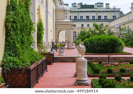 SAINT PETERSBURG, RUSSIA - FEB 24, 2015: the Garden of State Hermitage, a museum of art and culture in Saint Petersburg, Russia. It was founded in 1764 by Catherine the Great