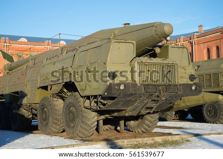 "SAINT PETERSBURG, RUSSIA - JANUARY 20, 2017: Launcher Soviet missile complex ""Temp-s"" 9�?76 sunny winter day"