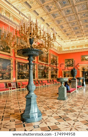 SAINT-PETERSBURG, RUSSIA-JANUARY 22:State Hermitage is museum of art and culture on January 22,2014 in Saint Petersburg,Russia. One of oldest museums in world,it was founded in 1764 by Catherine Great