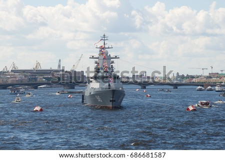 "SAINT-PETERSBURG, RUSSIA - JULY 30, 2017: A patrol ship of the 2nd rank ""Stoykiy"" in the water area of the Neva river. Navy Day in St. Petersburg"