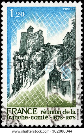 SAINT-PETERSBURG, RUSSIA - JULY 14, 2015: A stamp printed by FRANCE shows view of Franche-Comte - an administrative region and a traditional province of eastern France, circa May, 1978 - stock photo