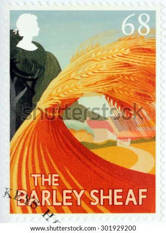 SAINT-PETERSBURG, RUSSIA - JULY 14, 2015: A stamp printed by GREAT BRITAIN shows image of The Barley Sheaf - one of the ancient British Pub Signs, circa August, 2003. - stock photo