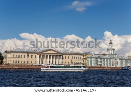 Saint Petersburg, Russia - 10 July : Cabinet of curiosities with Cumulus clouds and boat with tourist, the days of military glory of Russia on 10 July, 2016.