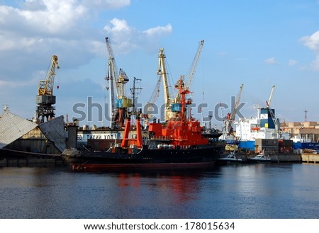 SAINT-PETERSBURG, RUSSIA, JULY 14, 2013: Cargo port on Kanonersky Island in Saint-Petersburg