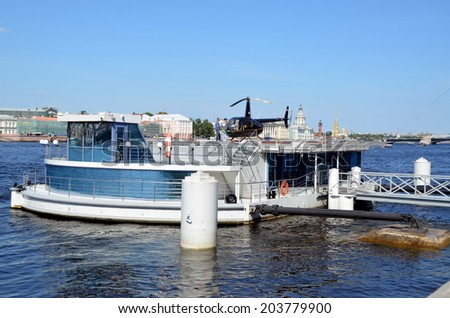 SAINT-PETERSBURG, RUSSIA, JULY 8, 2014: Helicopter on the Neva River, St. Petersburg