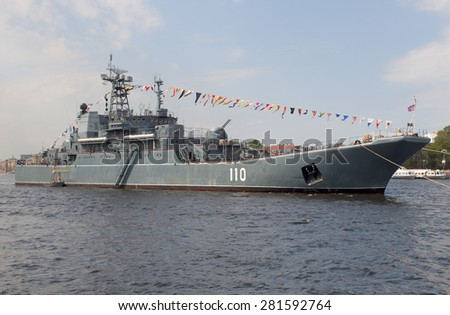 "SAINT-PETERSBURG, RUSSIA - JULY 27, 2012: Large landing ship ""Alexander Shabalin"" in the waters of the Neva on the Day of the Navy"