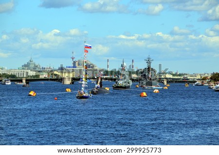 SAINT-PETERSBURG, RUSSIA - JULY 25, 2015 - Navy Day, St. Petersburg. The parade of warships on the Neva river