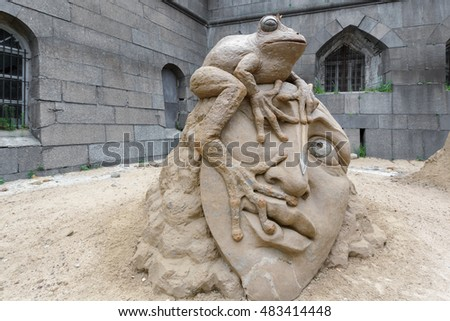 "SAINT PETERSBURG, RUSSIA - JULY 19, 2013: Sand Sculpture Festival 2013 ""The Island Tales"""