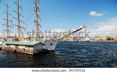 SAINT PETERSBURG, RUSSIA  - JULY 14,2009: Ships in berth during The Tall Ships Races