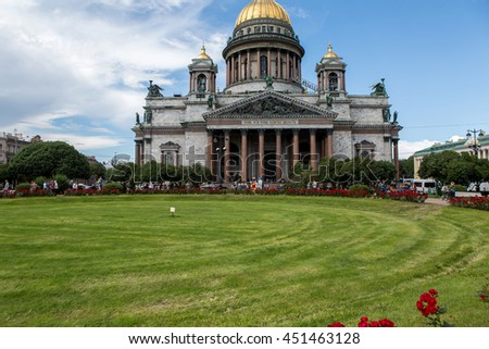Saint Petersburg, Russia - 10 July : St. Isaac Cathedral Built in 1818-1858 years by architect Auguste Montferrand,  the days of military glory of Russia on 10 July, 2016.