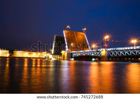 Saint Petersburg, RUSSIA - July 2016: The Opening of The Palace Bridge