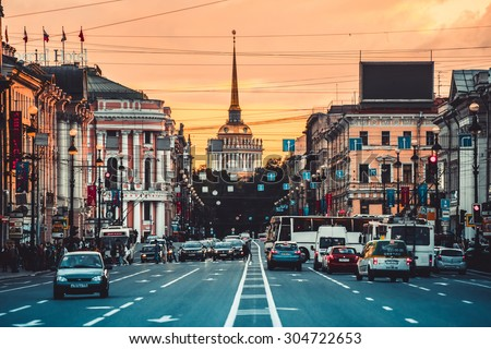 SAINT-PETERSBURG, RUSSIA - JULY 25, 2015: View on Nevsky Prospect and Admiralty building in Saint Petersburg, Russia.