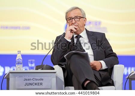 SAINT-PETERSBURG, RUSSIA - JUN 16, 2016: St. Petersburg International Economic Forum SPIEF-2016. President of the European Commission Jean-Claude Juncker - stock photo