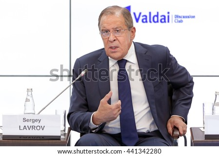 SAINT-PETERSBURG, RUSSIA - JUN 16, 2016: St. Petersburg International Economic Forum SPIEF-2016. Sergey Viktorovich Lavrov is a Russian diplomat, and is currently the Foreign Minister of Russia - stock photo