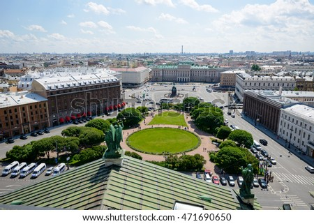 SAINT PETERSBURG, RUSSIA - JUNE 17, 2016: Bronze equestrian monument of Nicholas I on St Isaac's Square in St-Petersburg, Russia