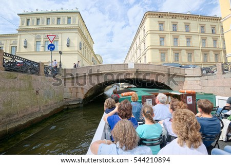 SAINT PETERSBURG, RUSSIA - JUNE 17, 2016: Historical buildings along the Canal, view from the excursion boat