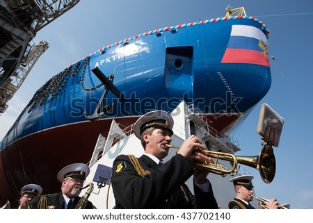 "Saint-Petersburg, Russia - June 16, 2016: In the Baltic factory officially launched the largest head-nuclear icebreaker ""Arktika"""