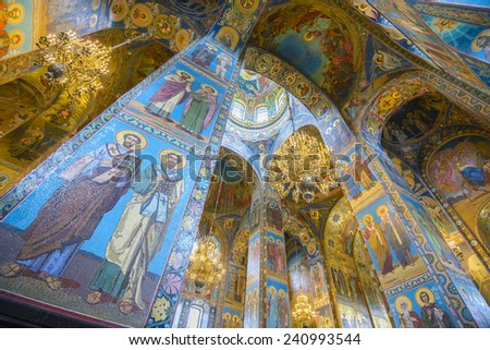 SAINT PETERSBURG, RUSSIA - JUNE 1, 2014: Interior of the Church of the Savior on Spilled Blood on June 1, 2014 in St. Petersburg, Russia. - stock photo