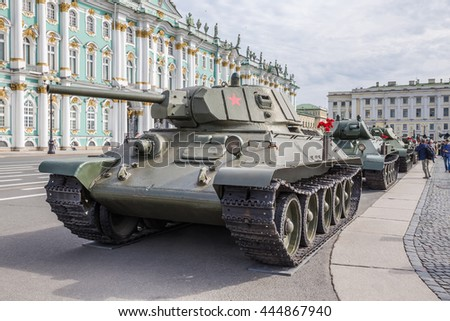 SAINT-PETERSBURG, RUSSIA - JUNE 22, 2016: Soviet medium Tank T-34 of times of World War II on the military-patriotic action, dedicated to the Day of Memory and Grief on Palace Square