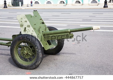 SAINT-PETERSBURG, RUSSIA - JUNE 22, 2016: Soviet 45-mm cannon of World War II on the city military-patriotic action, dedicated to the Day of Memory and Grief on Palace Square