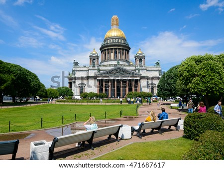 SAINT PETERSBURG, RUSSIA - JUNE 17, 2016: View of Saint Isaac's cathedral or Isaakievskiy Sobor, architect Auguste de Montferrand.
