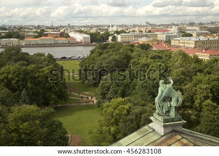 SAINT-PETERSBURG, RUSSIA. 3 JUNY  2016. Panorama of Saint Petersburg with St.Isaac cathedral. - stock photo